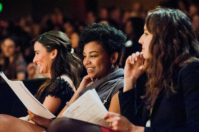 Alison Becker ( Parks & Rec ), AAsha davis  ( Friday Night Lights ) and  Troian Bellisario  ( Pretty little liars ) prepare to perform our girls' scenes at Lights, Camera, WriteGirl!