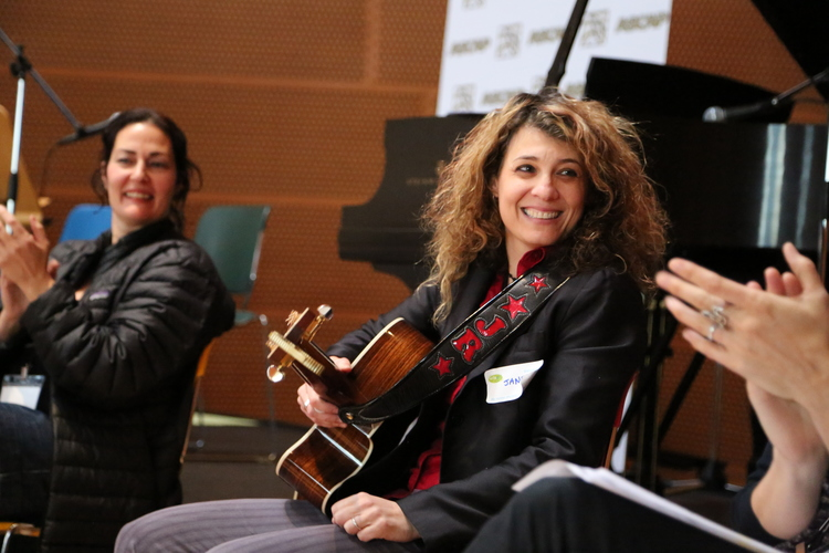 SONGWRITER  JANET ROBIN  IMPROVISES MELODIES FOR LYRICS WRITTEN BY THE WRITEGIRL TEENS AT THE SONGWRITING WORKSHOP AT WALT DISNEY CONCERT HALL.