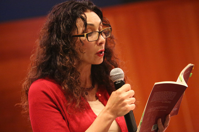 Poet  Sholeh Wolpe  shares her work at our  No Character Limit  book launch.