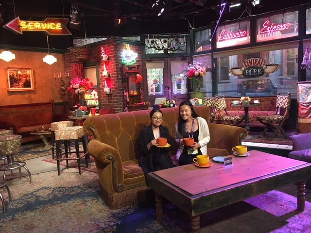 "WriteGirls on the Central Perk cafe set of the TV show ""Friends,"" which filmed on the Warner Bros. lot."