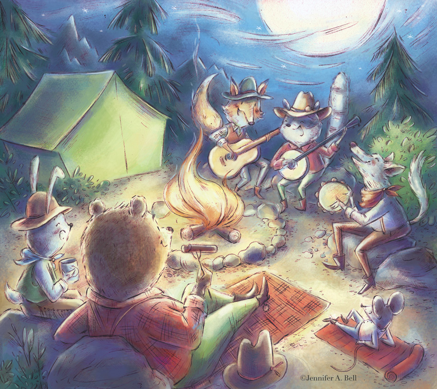camping.Illustrated by Jennifer A. Bell