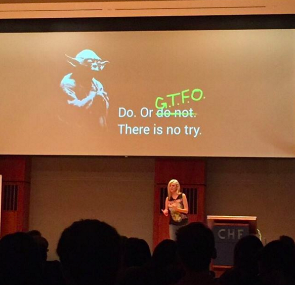 A shot from my CocoaLove 2015 talk, courtesy of Curtis Herbert: @parrots