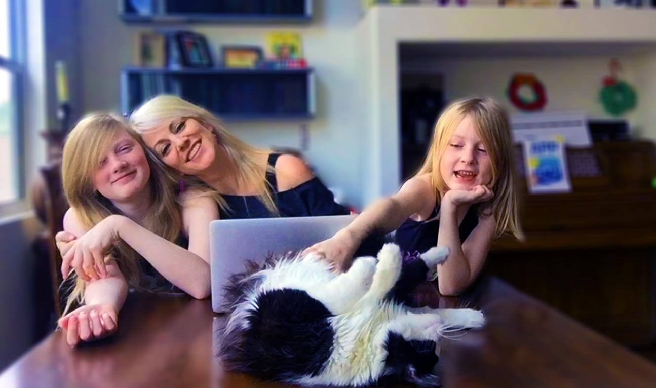 Sophia, Me, Zia and Adrian the cat. Photo taken in 2015.
