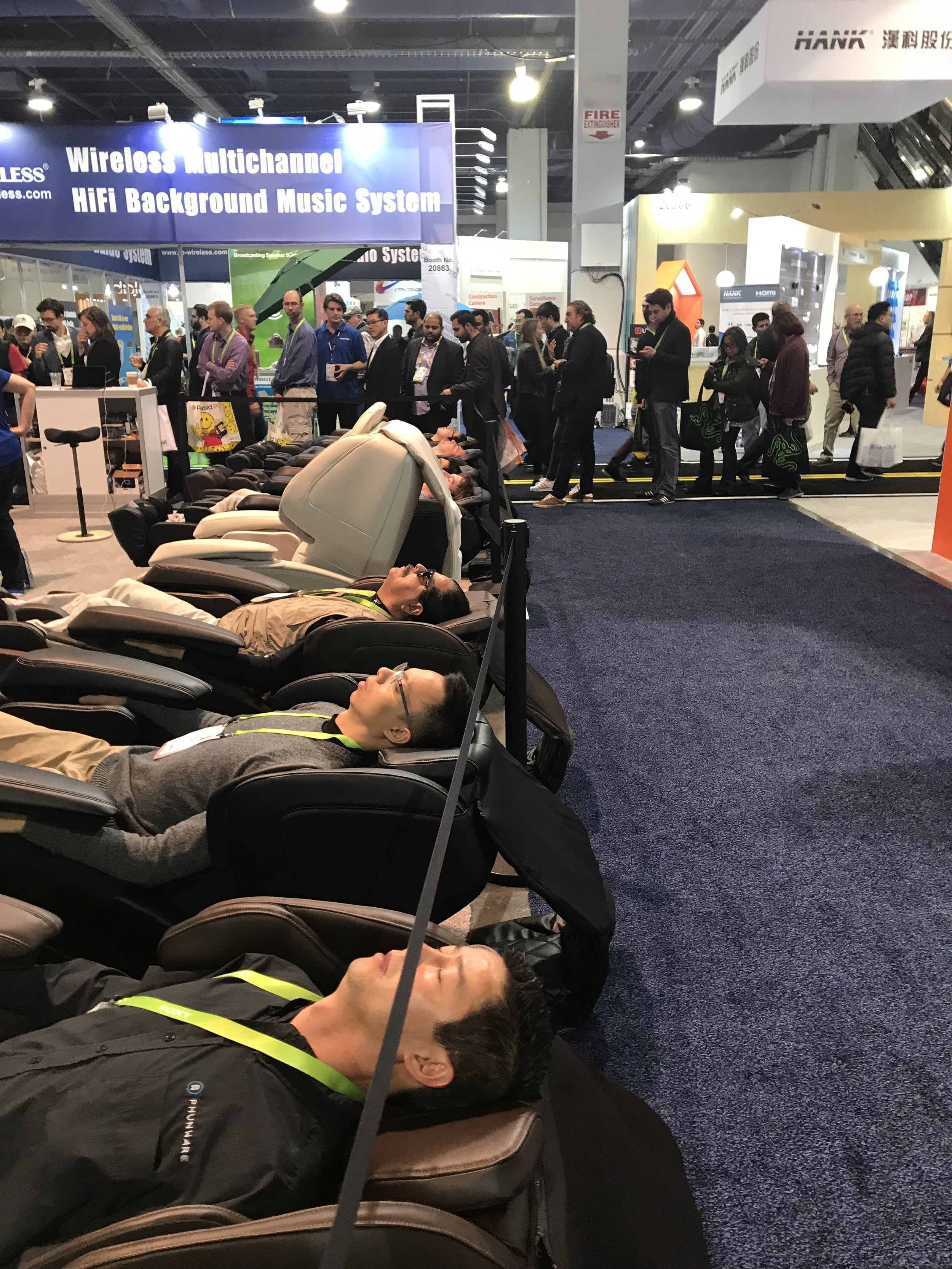 Pretty funny sight at CES, I'm all about that massage