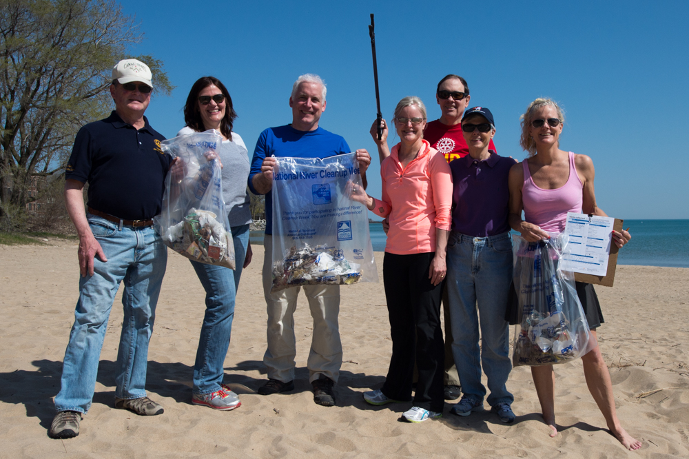 Part of the crew that cleaned up South Boulevard Beach in Evanston.