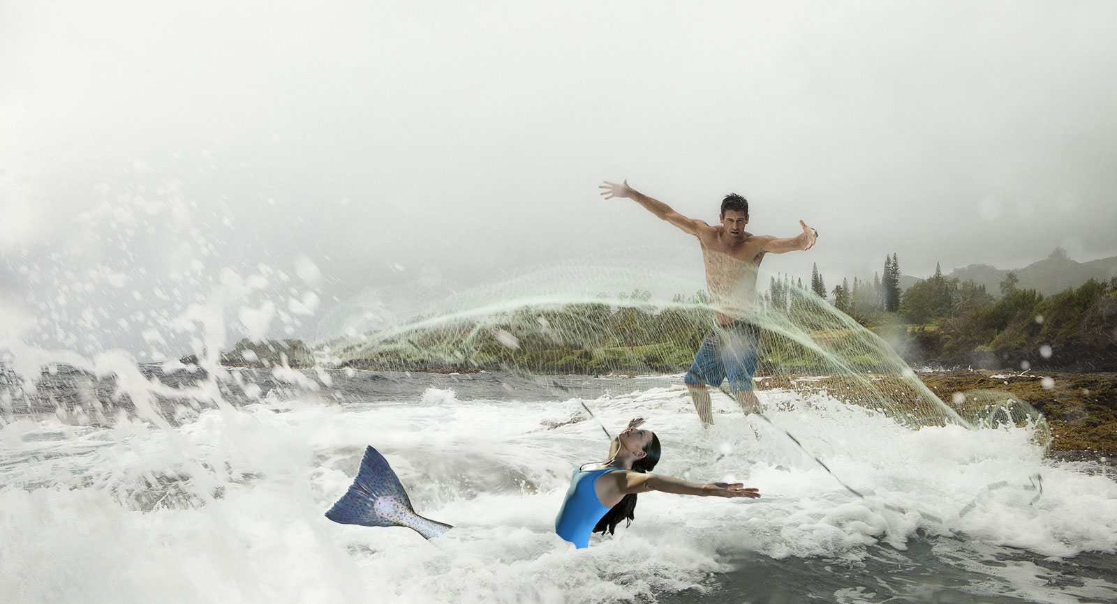 Throw Net Mermaid Fishing