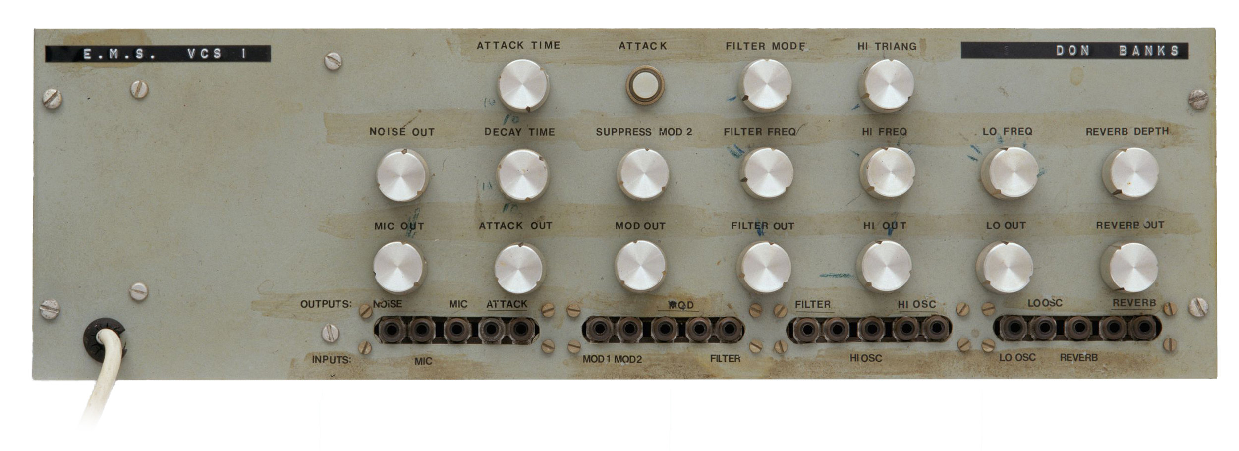 Electronic music synthesiser, model number VCS 1 owned and used by Don Banks.  H9953-13