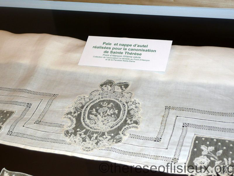 Altar linens of point d'Alencon lace created for St. Therese's canonization