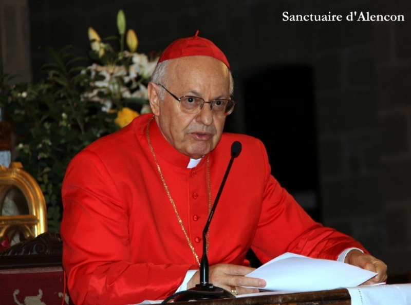 Cardinal Lorenzo Baldisseri, secretary-general of the  Synod of Bishops on the Family, speaking about Blessed Louis and Zelie Martin in the Basilica of Notre Dame d'Alencon on their feast, July 12, 2014