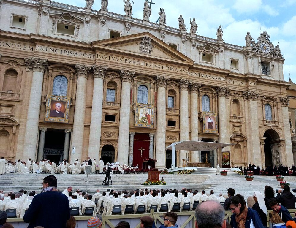 The view from our seats at the canonization