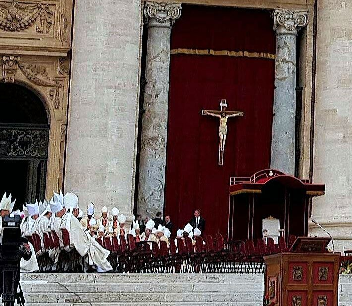 Rows of mitred bishops await the Pope . . .