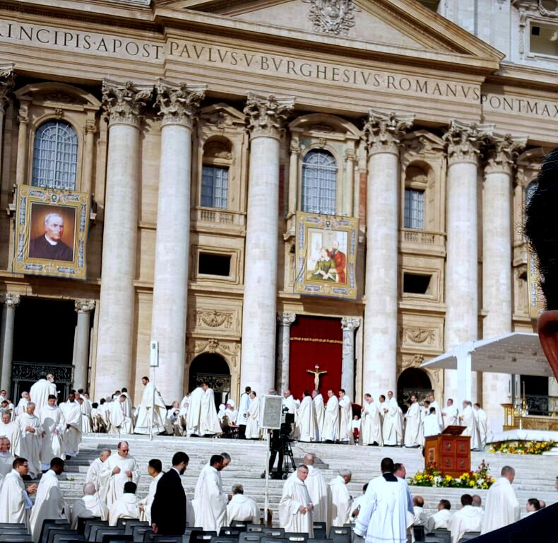 Priests taking their places for the canonization of Sts. Louis and Zelie Martin, October 18, 2015