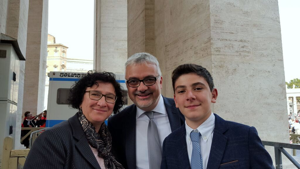 Adele and Valter Schiliro with their son Pietro after the Mass of Canonization
