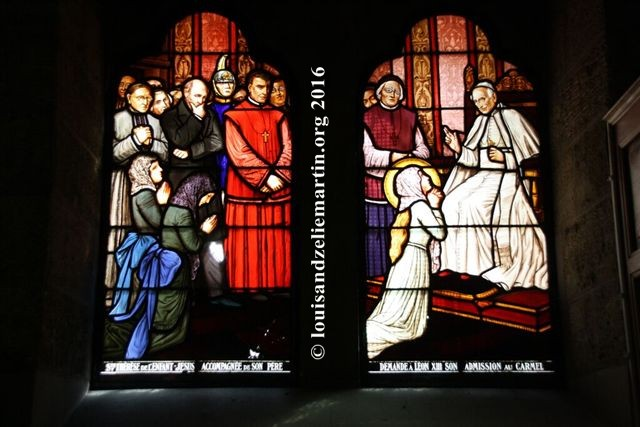 louis martin watching with a group while st. therese, aged 14, kneels before pope leo XIII to ask permission to enter carmel at age 15. stained-glass window in the baptistry of st. eulalie's church, bordeaux, where st. louis martin was baptized on october 28,1823.