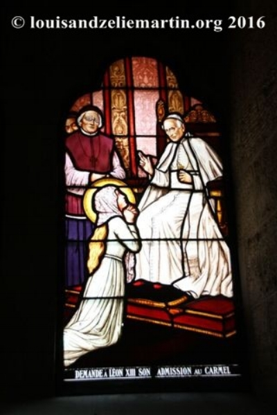 st. therese asking pope leo xiii to let her enter carmel at age 15.  stained-glass windows in the baptistry of st. eulalie's church, bordeaux, where her father, st. louis martin, was baptized.
