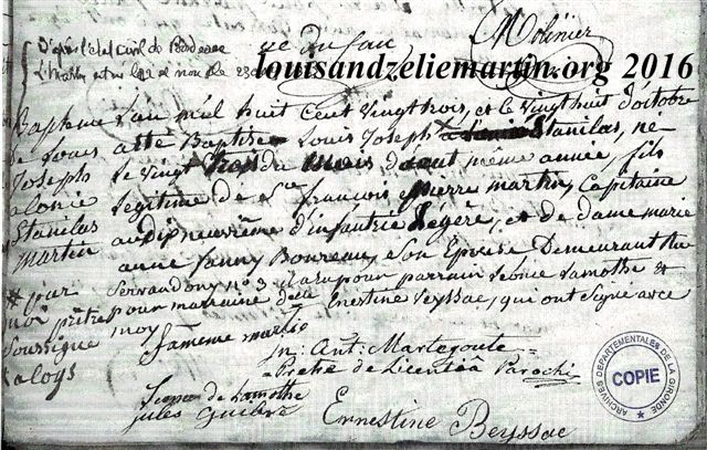 Record of the  baptism of saint louis martin at st. eulalie's church, bordeaux, october 28, 1823