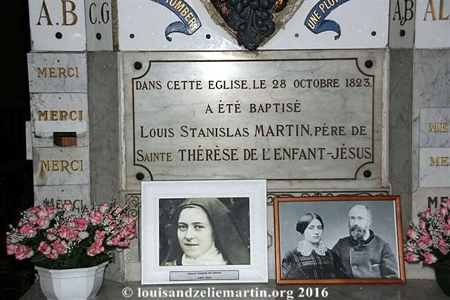 Plaque commemorating the baptism of Louis Martin