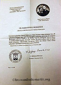 Certificate of authenticity of the reliquary of Sts. Louis and Zelie Martin