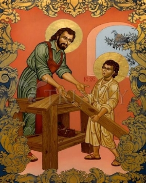 An icon of St. Joseph the Worker with the Christ Child by Lewis Williams, OFS.  Available from Trinity Stores.  For ordering information, please click on the image.  Your purchase supports this Web site.