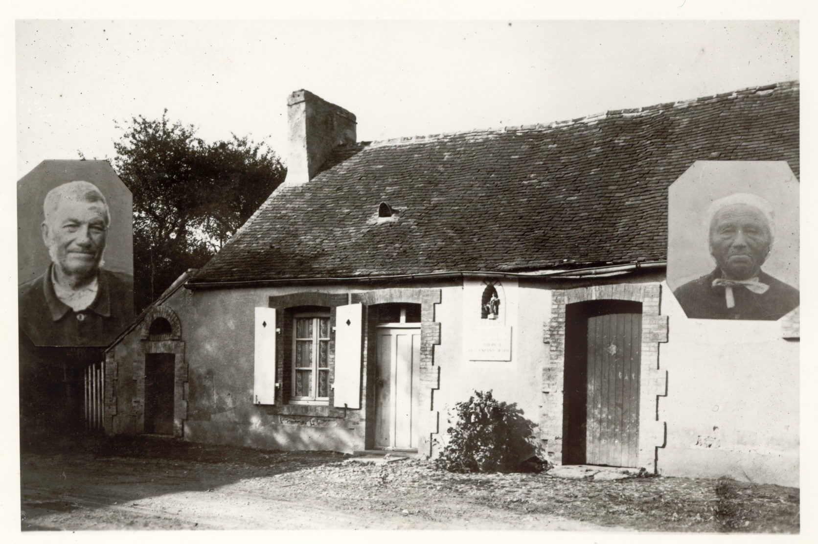"An early photo of the farmhouse at semalle where therese lived as a baby in 1873-1874.  at left, the farmer, moyse taille; at right, his wife, rose taille, known as ""little Rose,"" Therese's wet-nurse.  PHOTO CREDIT: THE SHRINE OF STS. LOUIS AND ZELIE MARTIN AT ALENCON."