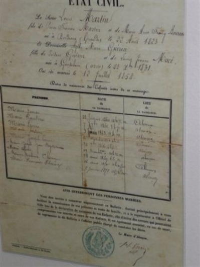RECORD OF THE CIVIL MARRIAGE OF ZELIE GUERIN AND LOUIS MARTIN, JULY 12, 1858