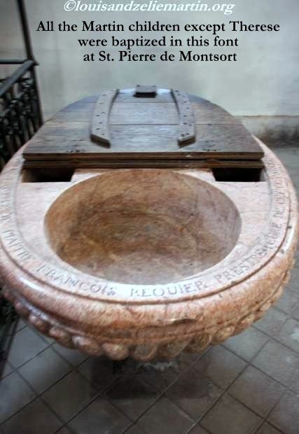 The baptismal font at St. Pierre de Montsort Church in Alencon.