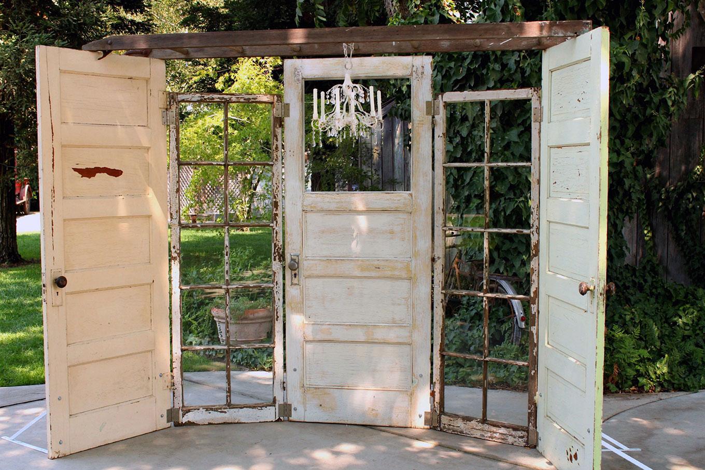 Vintage Wedding Door Altar Backdrop with Ladder and Chandelier
