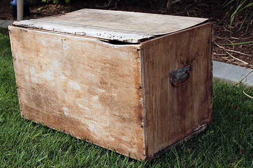 LARGE WOODEN BOX W/CASTERS - $25