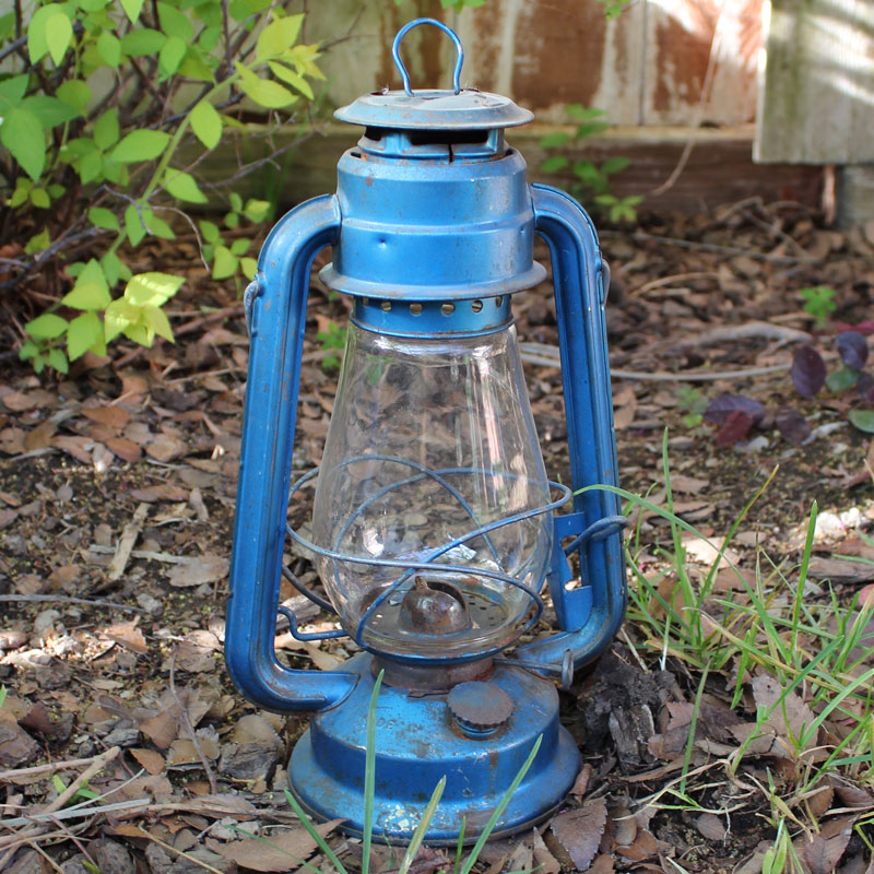 Rusty Blue Train Lantern