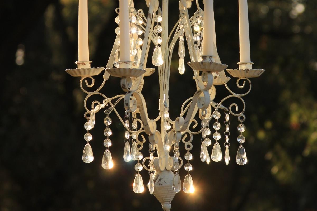 Rustic vintage shabby chic crystal chandelier wedding