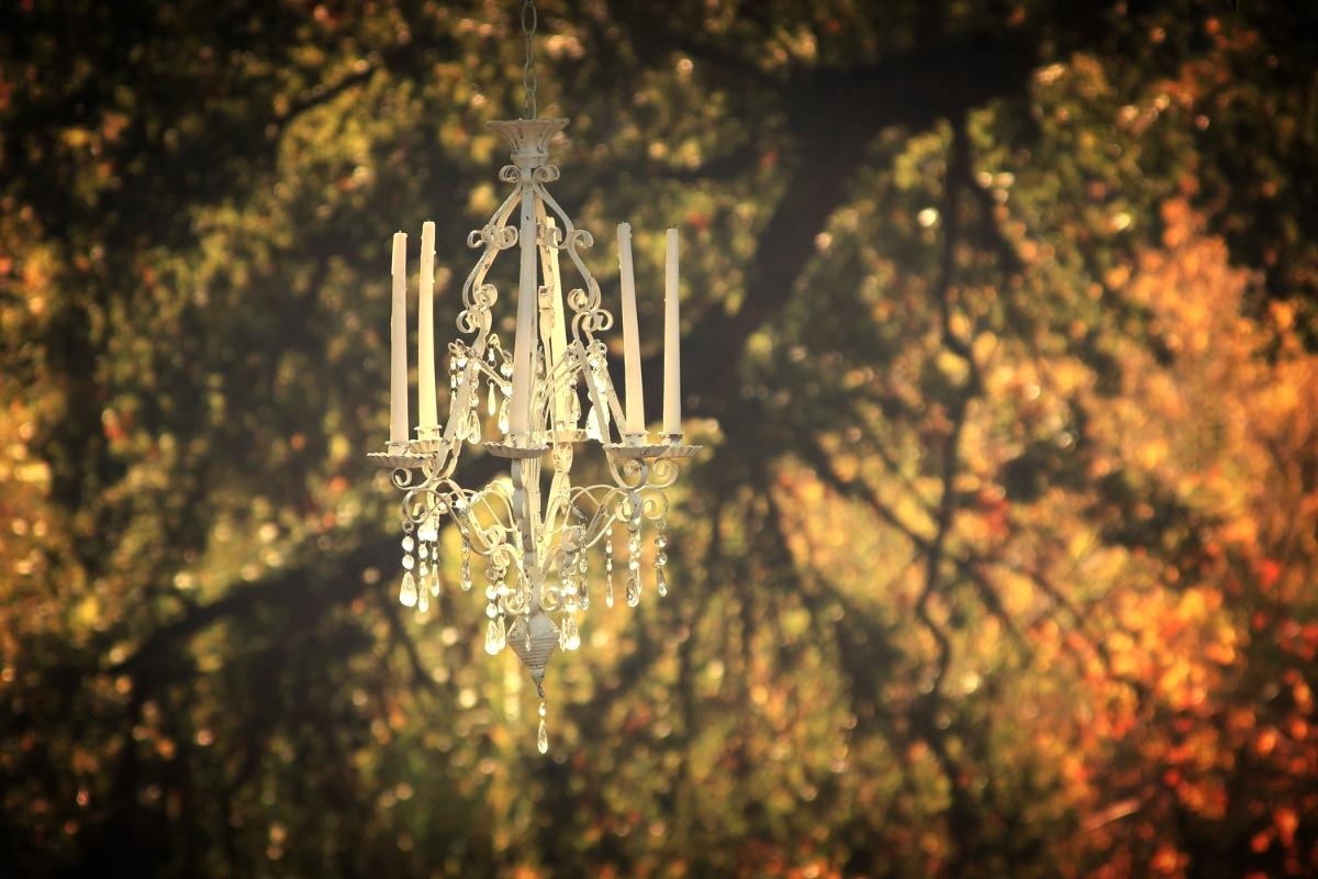 Rustic vintage shabbychic romantic wedding chandelier