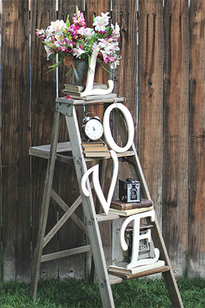 L.O.V.E LADDER w/VINTAGE DECOR - $50    MORE DETAILS & PICS...