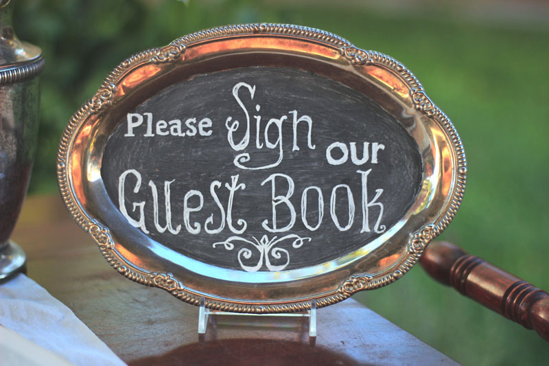 "SILVER TRAY CHALKBOARD ""Sign Our Guestbook"" - $10   Size: 9"" x 6.5"""
