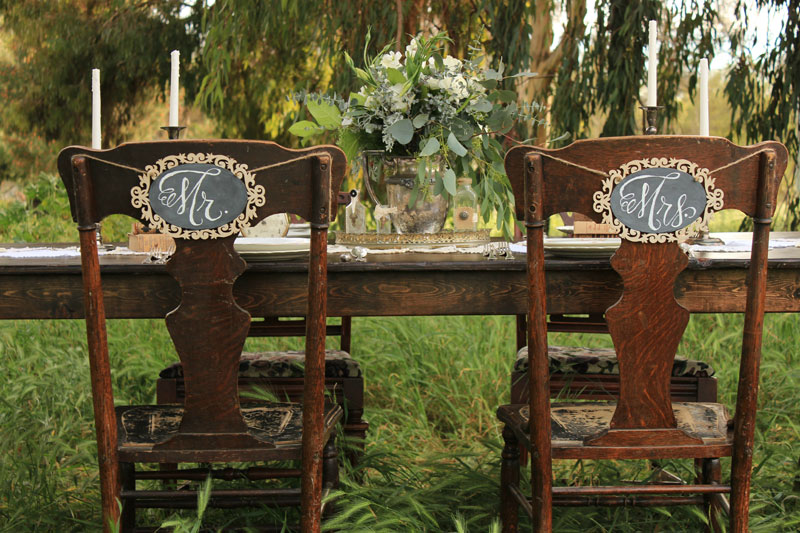 """MR. & MRS."" Chair Sign Set - $15/set"