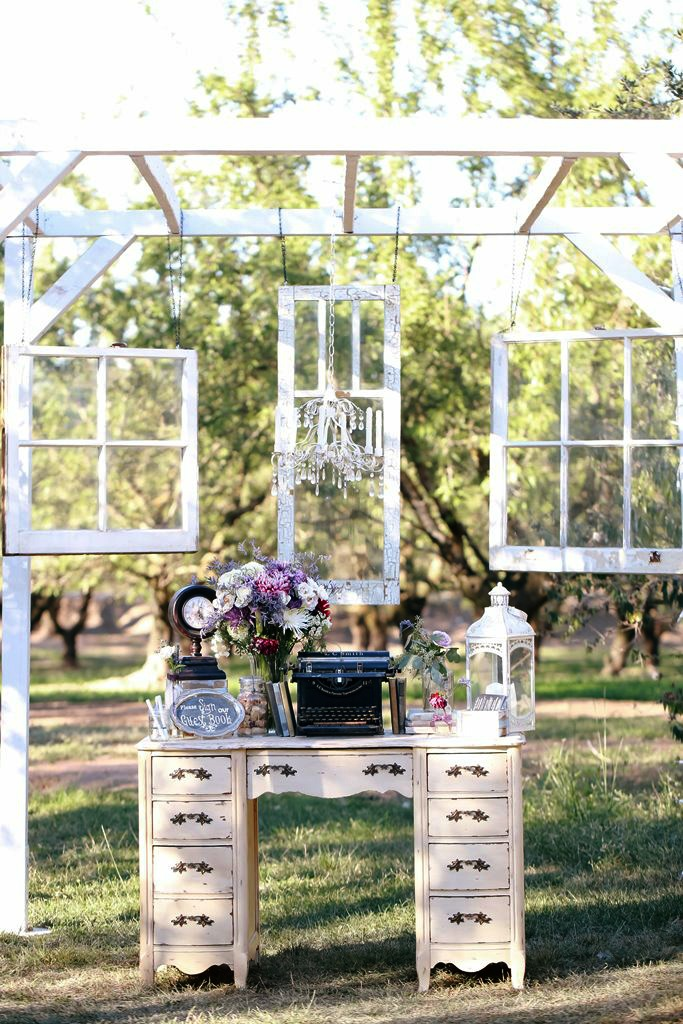 Vintage Wedding Window Backdrop Guest Sign In Table