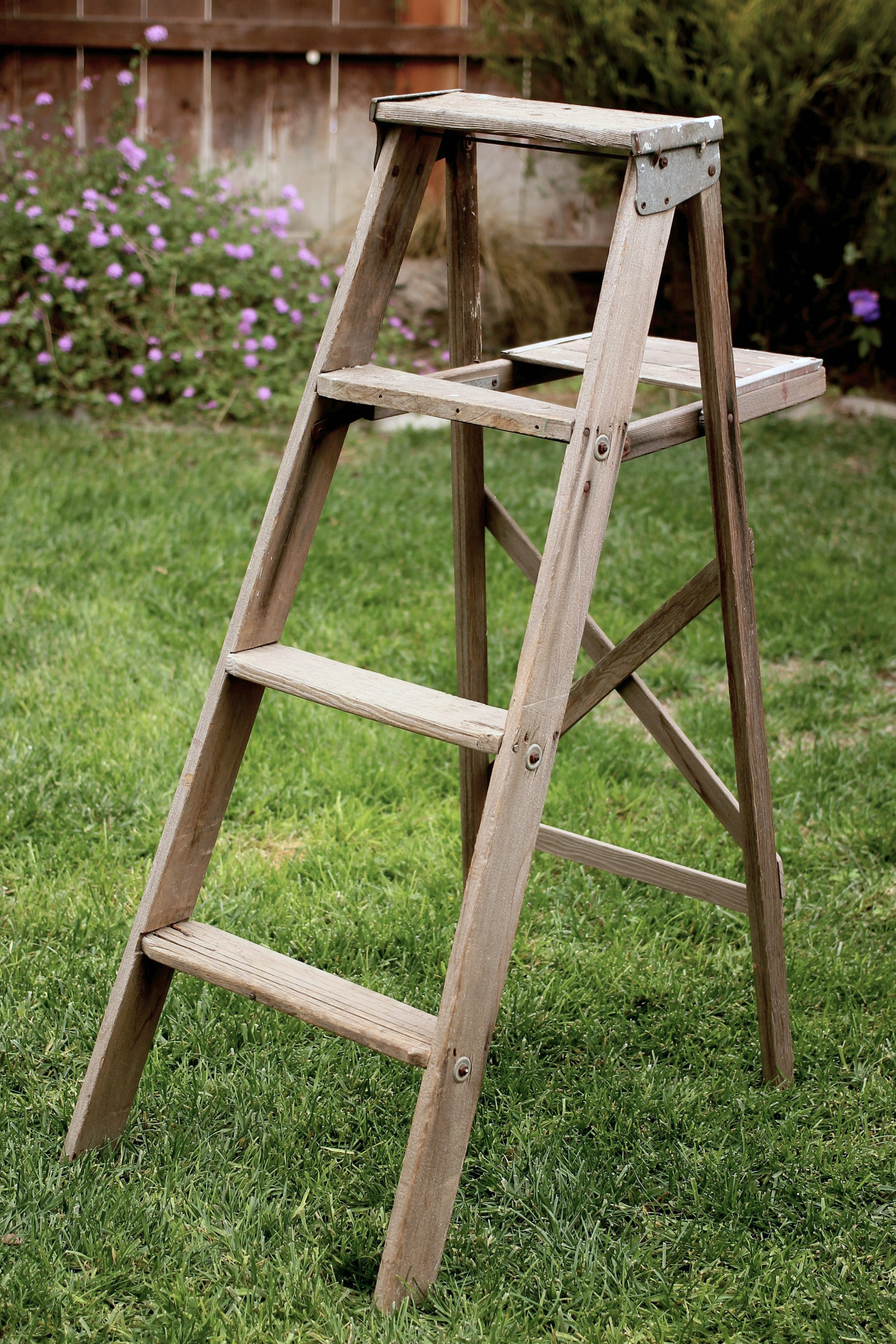 WEATHERED A-FRAME LADDER $25    MORE DETAILS & PICS...