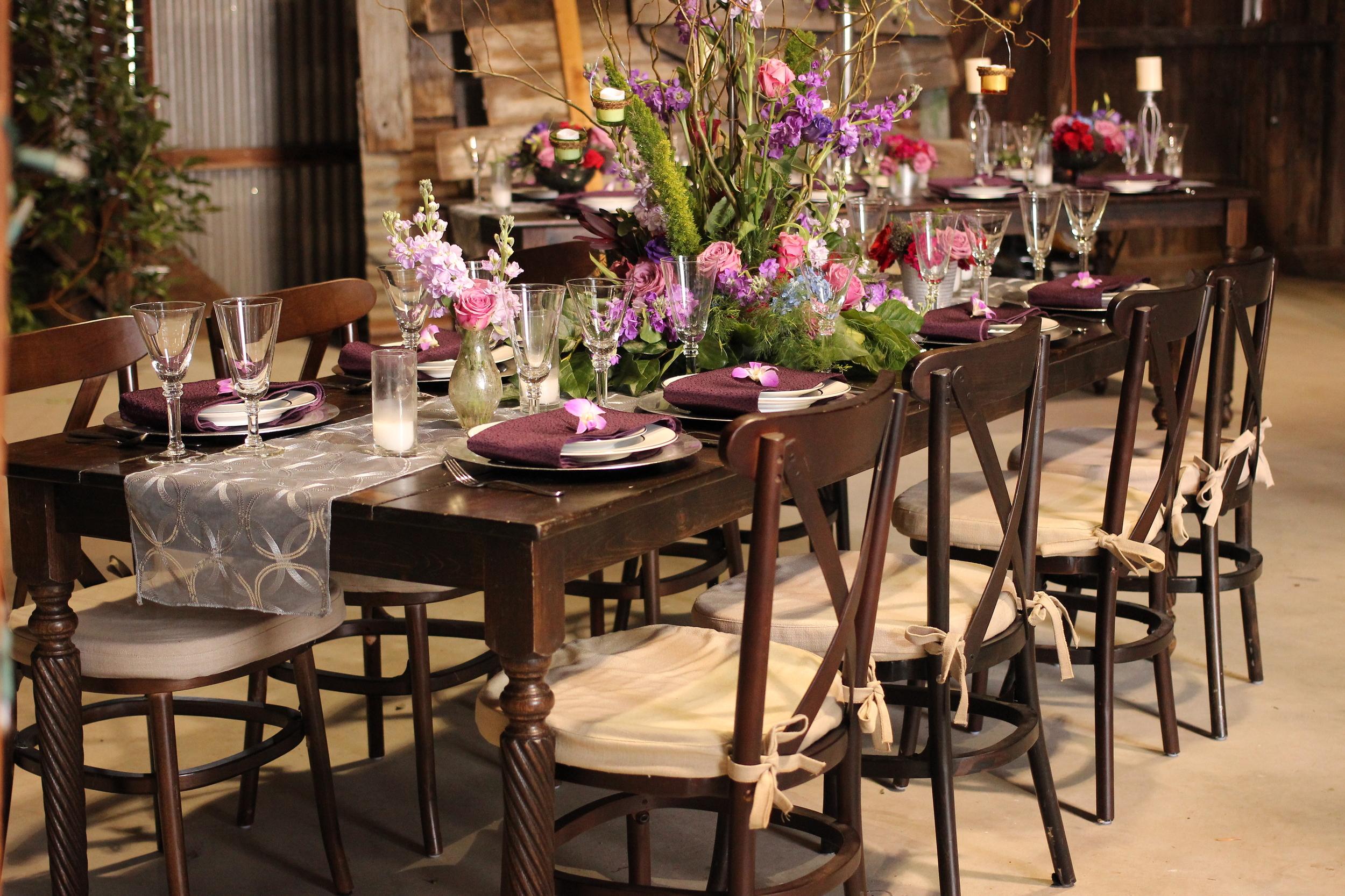 Rustic Vintage Barn Wedding Farm Table Rentals