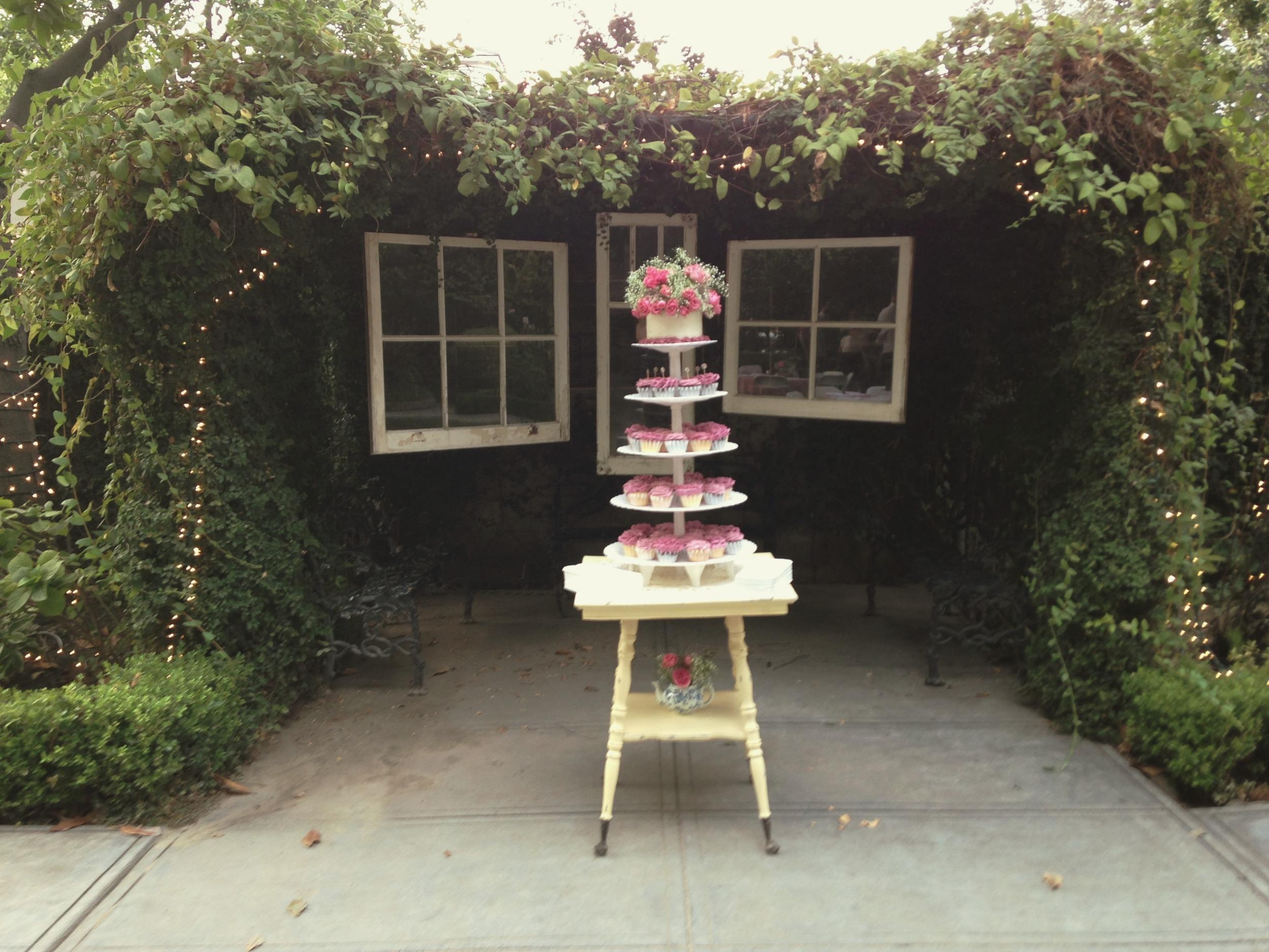 Vintage Wedding Window Backdrop Cake Display