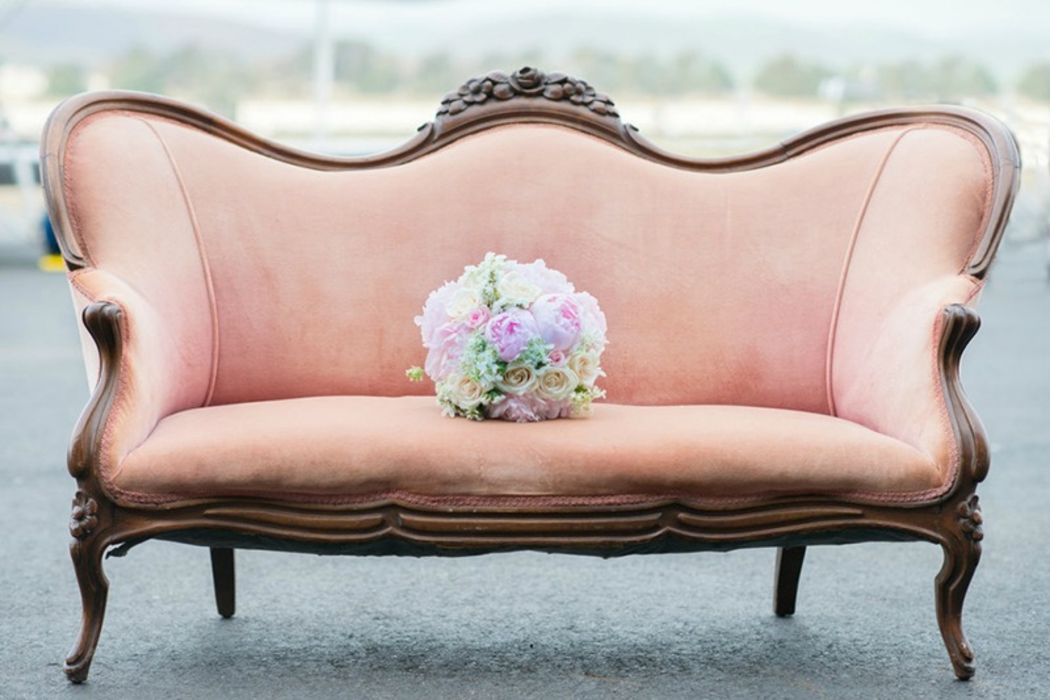 Pink Vintage Love Seat - Wedding Furniture Rentals