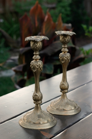 """ADONIA"" - 13 inch - Ornate Brass Candlesticks   RENT FOR $15/Each    MORE DETAILS & PICS..."