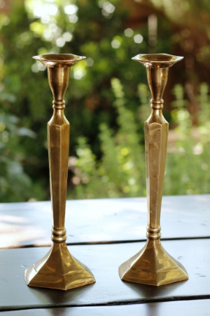 """AURORA"" - TALL, Brass Taper Candlesticks   RENT FOR $10/Each    MORE DETAILS & PICS..."