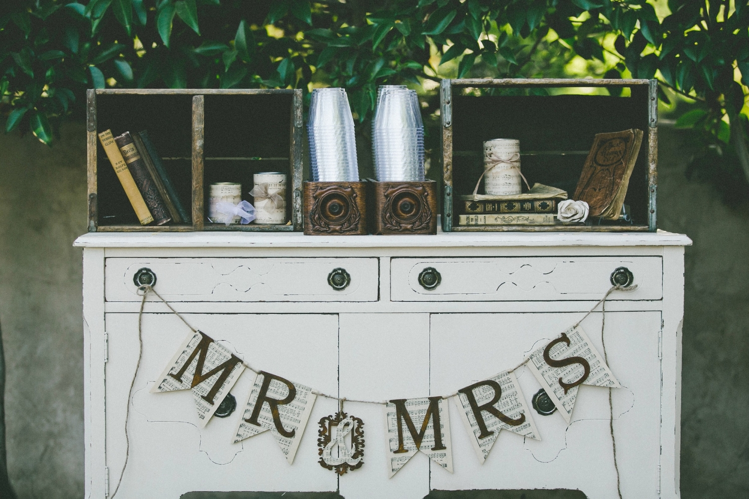 """MR & MRS"" Banner - $15 Wood pennants decoupaged with vintage sheet music"