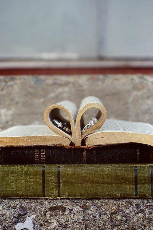 Wedding Rings and Vintage Books