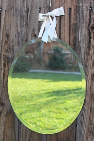 "SML - OVAL, BEVELED-EDGE MIRROR - 16"" X 19"" WITH HANGING RIBBON - $15"