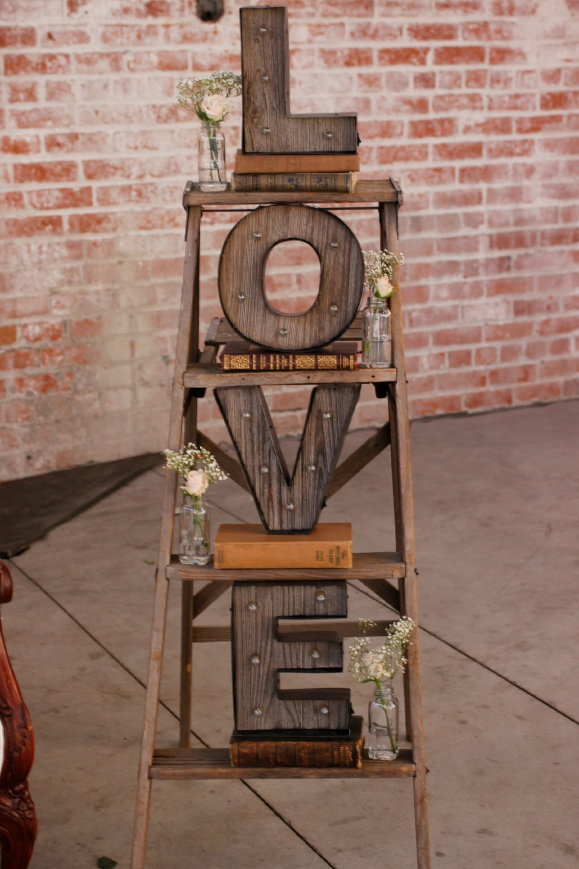 Old Sugar Mill Wedding - LOVE Marquee Ladder