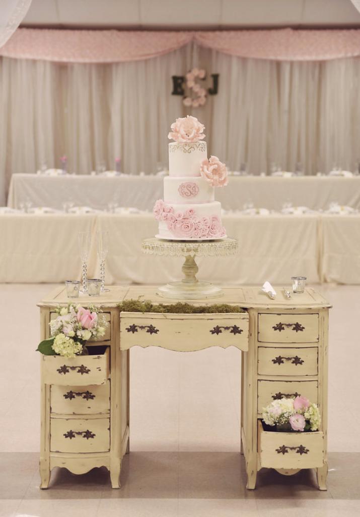 Vintage Desk Wedding Cake Table
