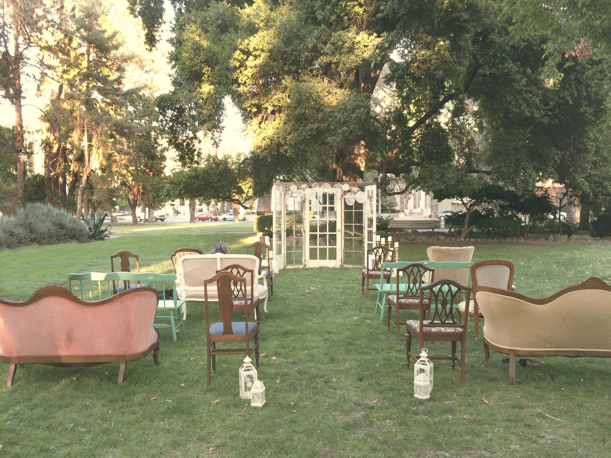 Boho Style Wedding Ceremony in the park