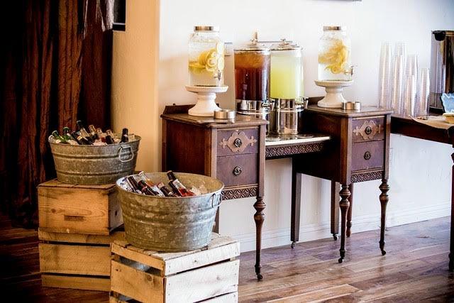 Vintage Wedding Self-serve Bar drink area
