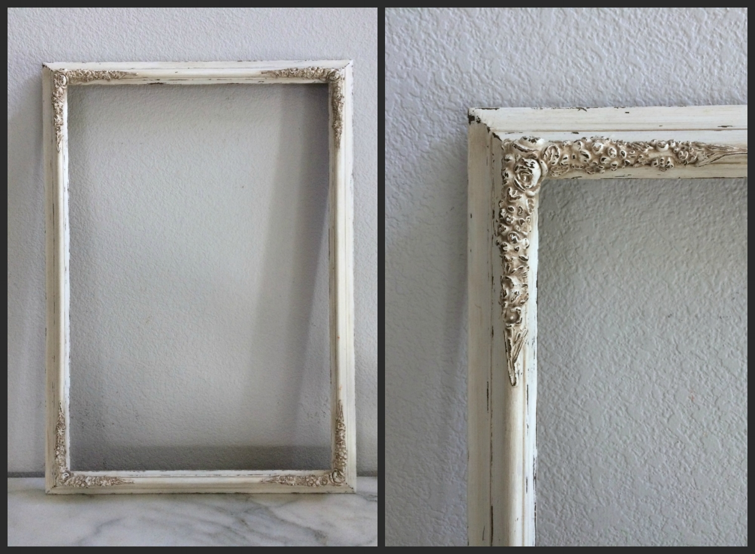 LG -OLD WHITE, FLORAL CORNERS - 17 X 25 - $15