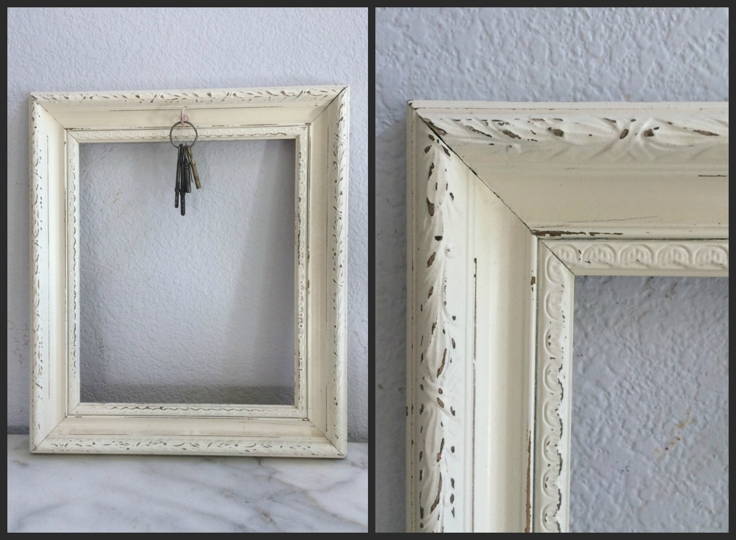 SMALL - IVORY W/ HOOK FOR HANGING AN ACCENT - $10 - 10 X 12